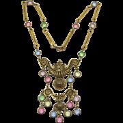 Elaborate Gold-tone and Pastel Rhinestone Necklace