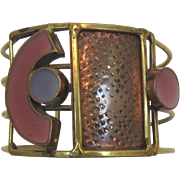 Hand-Crafted Brass and Enameled Bracelet