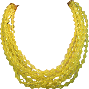 Coro Bright Yellow 10 Strand Beaded Necklace