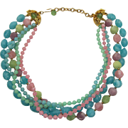 Kramer Candy Colored Thermoplastic Beaded Necklace - Pink, Green, Lavender and Aqua