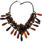 DeLizza and Elster Juliana Tortoise, Amber and Black Bead Dangling Necklace - Frank DeLizza's Archives