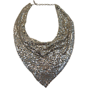 Gorgeous Whiting and Davis Silvery Mesh Bib Necklace