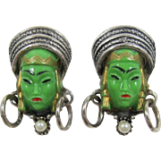 Rare Selro Cufflinks with Green Glass Thai Girl Faces