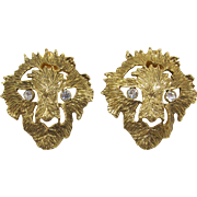 Large Gold-tone Lion Earrings - Frank DeLizza's Archives