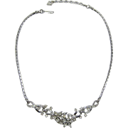 Trifari Silver-tone and Clear Rhinestone Florette Necklace