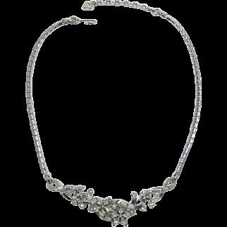 Trifari Silver-tone and Clear Rhinestone Florette Necklace
