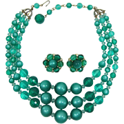 Three Strand Necklace and Earrings with Green Moonglow Beads