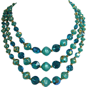 Three Strand Sparkling Teal and Teal-Green Beaded Necklace