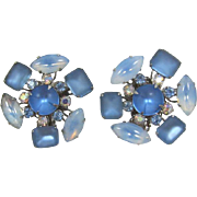 Frosted Blue and Swirled Blue Rhinestone Earrings