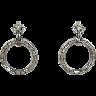 Trifari Sparkling Rhinestone Hoop Earrings