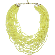 Beautiful Made Italy Bright Yellow and Clear Givre' Multi-Strand Beaded Necklace