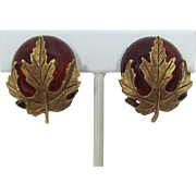 Oscar de la Renta Ruby-Red Glass Cabochon and Leaf Earrings