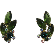 DeLizza and Elster Juliana Green Tourmaline Navette Earrings with AB Florettes