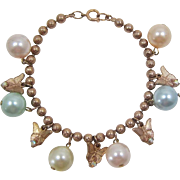Pretty Ball Chain Bracelet with Pastel Pearls and Gold-tone Butterflies - Frank DeLizza's Archives