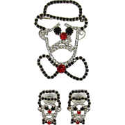 Sad-Faced Rhinestone Clown Brooch and Earrings Set - Frank DeLizza's Archives
