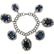Chunky Silver-tone Link Bracelet with Large Dark Sapphire Blue Charms