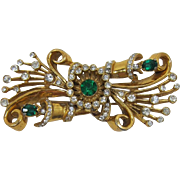 Gorgeous 1930's Green and Clear Rhinestone Floral Brooch