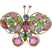 Sparkling Pastel Rhinestone Butterfly Brooch