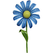 Fun Enameled Flower Pin with Blue Petals