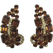 DeLizza and Elster Juliana Smoky Topaz and Yellow Rhinestone Ear Climber Earrings