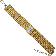 "Erwin Pearl ""Real Look"" Wide Gold-plated and Diamante Bracelet"