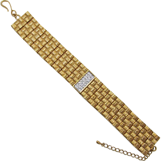 """Erwin Pearl """"Real Look"""" Wide Gold-plated and Diamante Bracelet"""