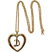 "Avon Gold-tone Initial Heart Necklace with Initial ""D"""