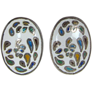 Siam Sterling Earrings with White and Multi-Colored Enameling