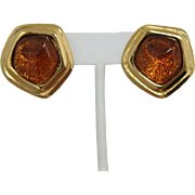 "Avon ""Grand Impressions"" Earrings - Imitation Amber Stones"