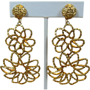 Bright Gold-tone Looped Double Flower Earrings