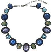 Gorgeous Avon Sapphire Blue and Opalized Rhinestone Necklace