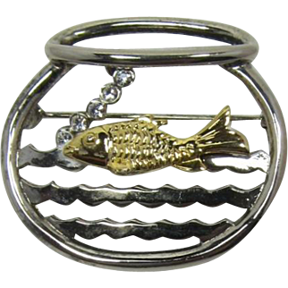 Danecraft Silver-tone Fishbowl with Gold-tone Fish