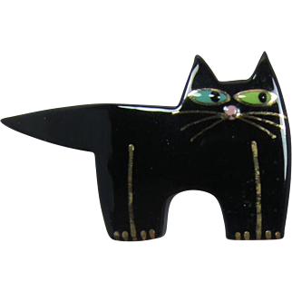 Black Ceramic Cat Pin with Green and Turquoise Eyes