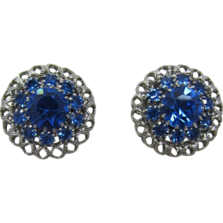 Silver-tone Domed Clip Earrings with Blue Rhinestones