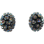 Gorgeous D&E aka Juliana Black Geode Earrings - Hard to Find