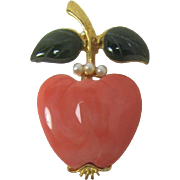 Signed KLJ Kenneth Lane Pretty Fruit Pin - Peach?