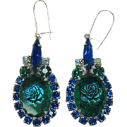 DeLizza and Elster aka Juliana Green-Blue Iridescent Rose Earrings