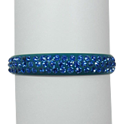 Deco Teal Celluloid Bracelet with Three Rows of Blue Rhinestones