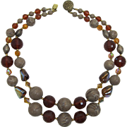 Two Strand Grey-Tan, Smoky Topaz and Blue-Gold Iridescent Beaded Necklace