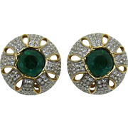 Swarovski High-Domed Earrings with Emerald Green and Clear Rhinestones