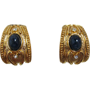 Avon Essentials Treasures Gold-tone and Deep Blue Cabochon Earrings - Book Piece