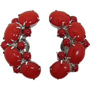 Signed By Gale Cherry Red Cabochon Earrings