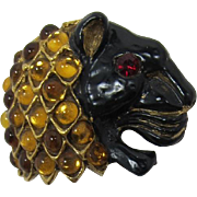 Richelieu Panther Head Enameled Brooch