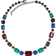 1990's Gunmetal Necklace with Green, Red, Blue, Purple and Topaz Rhinestones
