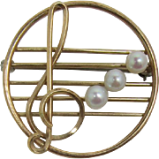 Krementz Treble Clef Musical Note Collar Pin with Cultured Pearls