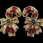 Avon Christmas Candy Cane Pierced/Post Earrings - Book Piece