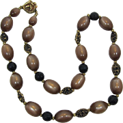 Single Strand Cocoa Brown Moonglow Beaded Necklace