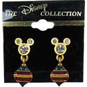 Disney Mickey Mouse Pierced Earrings with Dangling Christmas Ornaments