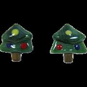 Fused Glass Christmas Tree Earrings