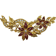 Avon Gold-tone and Enameled Poinsettia Christmas Brooch